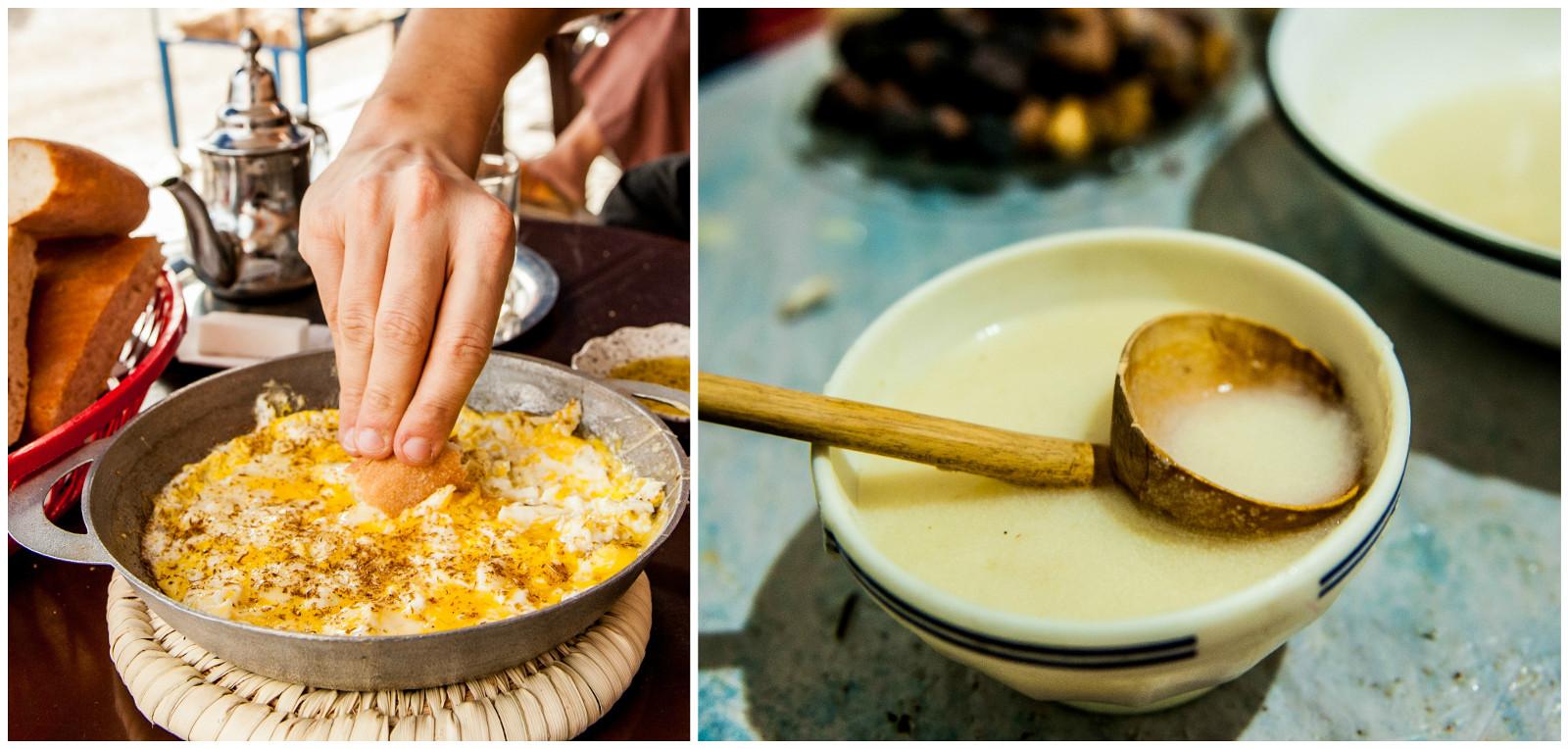 A to jużmenu śniadaniowe. Omlet i coś w rodzaju kaszy manny. Niestety śniadaniowa kaszka po marokańsku jest koszmarnie słona.
